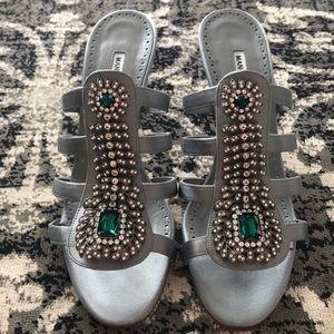 NIB Manolo Blahnik Embellished Sandals Heels Sz 39